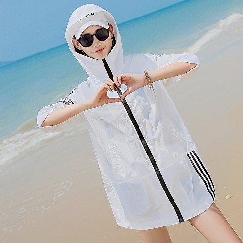 QFFL fangshaifu 女性の夏の印刷日保護服/ルーズ薄型大型ウインドブレーカーコート/ホワイトロングセクション通気性のサンプロテクションショール (サイズ さいず : XXL)