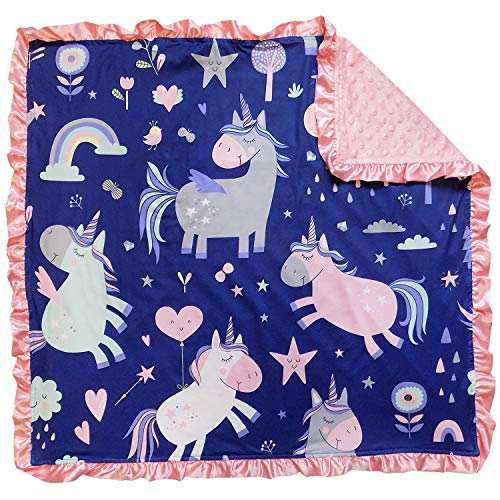 Blue and Pink Unicorn Baby Blanket