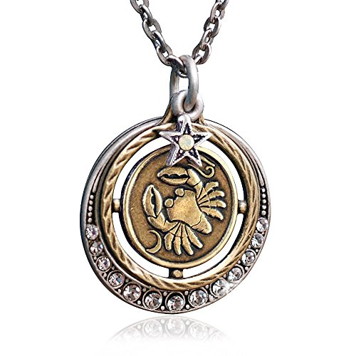 Sweet Romance Cancer Zodiac Sign Astrology Pendant Necklace - June and July Birthday Gifts ()