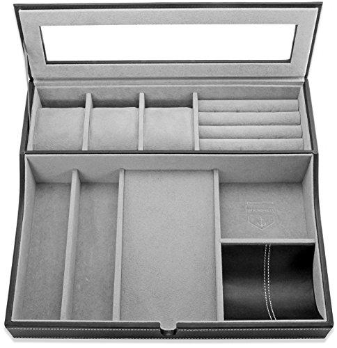 HOUNDSBAY Navigator Big Dresser Valet Tray for Men with Watch Box Jewelry Organizer & Angled Charging Station (Grey) by HOUNDSBAY (Image #4)