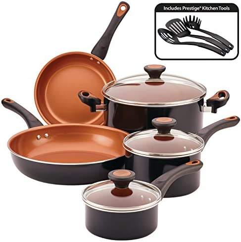Farberware Glide Copper Ceramic Nonstick Cookware Set, Black, 11-Piece
