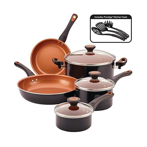 Farberware Glide Dishwasher Safe Nonstick Cookware Pots and Pans Set, 11 Piece, Black 1