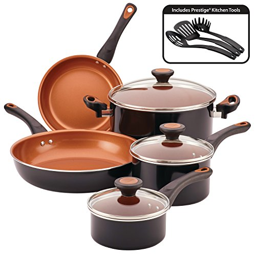 Farberware Glide Copper Ceramic Nonstick Cookware Set, Black, 11-Piece