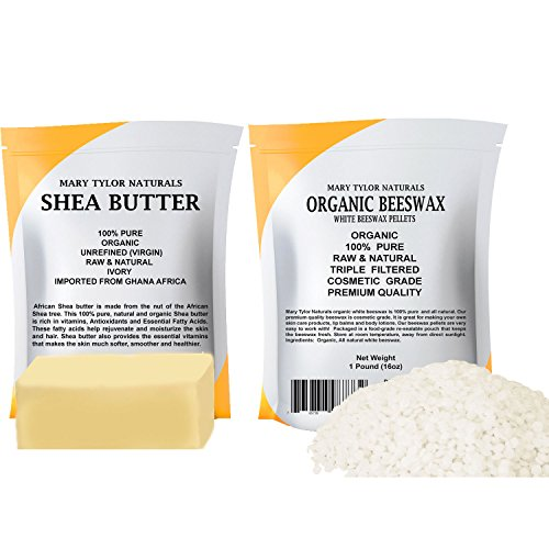 Mary Tylor Naturals Organic White Beeswax Pellets 1 lb + Organic Shea Butter 1 lb - Set, Amazing Skin Nourishment, Great for DIY Projects, Eczema, Stretch Marks, Body Butters