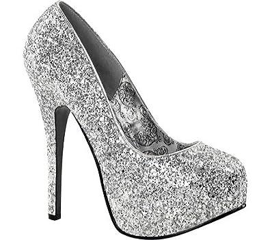 Women's Silver Glitter Teeze Platform Pumps - DeluxeAdultCostumes.com
