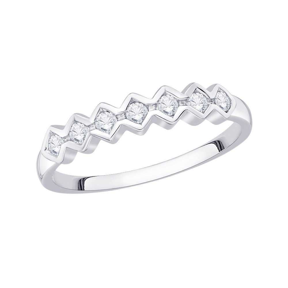 1//6 cttw, Diamond Wedding Band in Sterling Silver Size-5.75 G-H,I2-I3