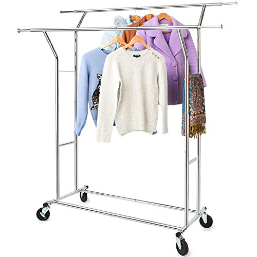 Hokeeper 330 Lbs Load Capacity Commercial Grade Clothing Garment Racks Heavy Duty Double Rails Adjustable Collapsible Rolling Clothes Rack, Chrome Finish (Double Hang Closet)