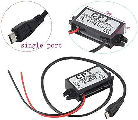 Module fiable de convertisseur de courant continu de chargeur de technologie de puissance de voiture port simple 12V /à 5V 3A 15W avec le c/âble Micro USB CPT-UL-6