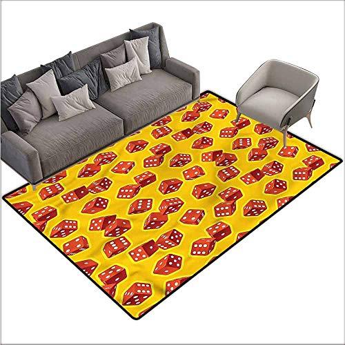 Bathroom Floor mats Yellow and Red,Dice Gambling 64