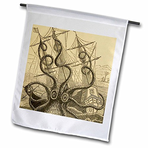 - 3dRose fl_164907_1 Gigantic Colossal Octopus Sea Monster Kraken. Pierre Denys De Montfort Garden Flag, 12 by 18-Inch