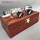 TDOUBEAUTY Private Custom High-Grade Mahogany Box Embedded Magnifying Glass Titanium Alloy Frame Quartz Lenses High-End Grade