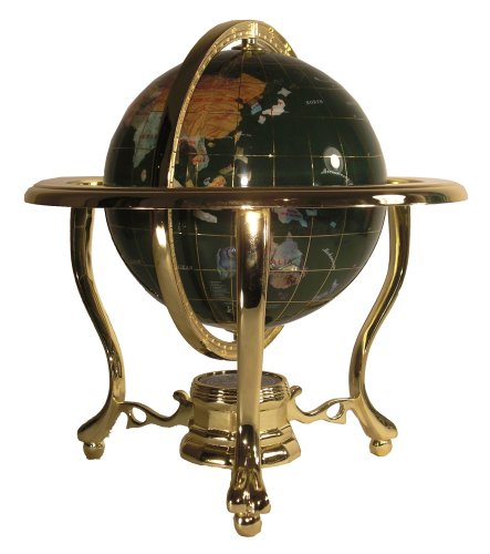 (Unique Art 10-Inch Tall Table Top Malachite Ocean Gemstone World Globe with Gold Tripod Stand)