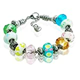 Holiday Charm Bracelet for Women & Girls, Steel Chain and Lampwork Faceted Glass Charms, Flowers