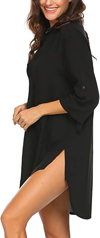 heekpek Copricostume Mare Donna Copribikini Costume da Bagno Camicia Maniche a 3//4 Camicia Bluse Cover Up Spiaggia Bikini Cover Up