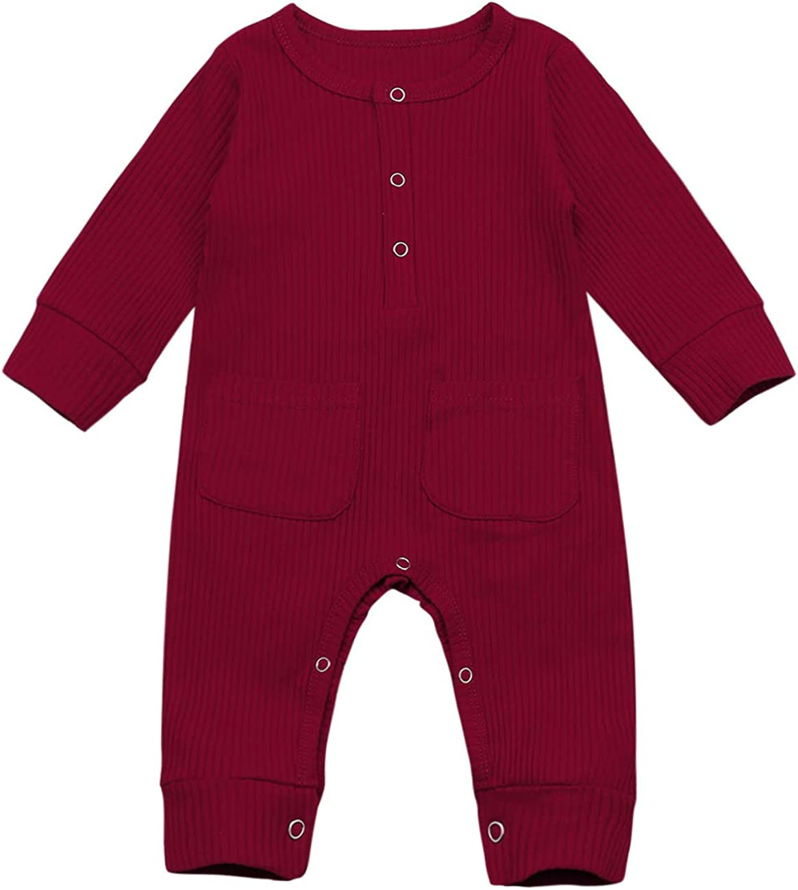 Newborn Infant Baby Boys Girls Romper Solid Color Long Sleeve Button Jumpsuit Bodysuit with Pocket One Piece Outfit Clothes
