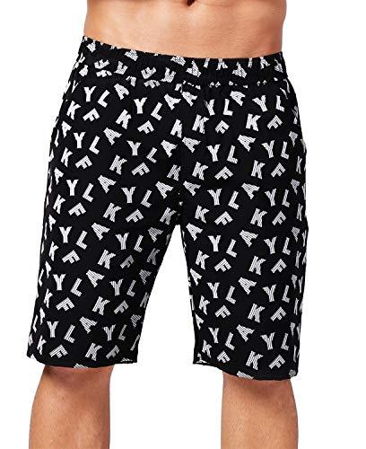 AKFLY Reflective Board Shorts for Walking Casual Elastic Waist Men Drawstring Shorts(Black)