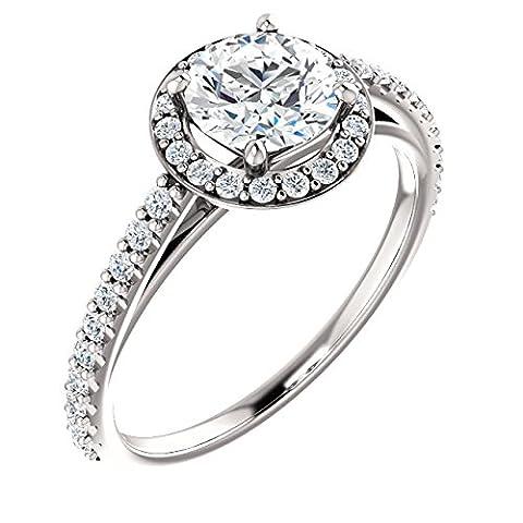 Classic Round Halo Diamond Engagement Ring 14k White Gold 3/4ct. TDW - Cut Halo Petite Diamond