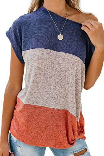 BINLIANG Women Color Block Side Twist Knotted Casual Tee Tops Summer Short Sleeve Tunic Shirt Blouse (Small(US 4-6),Blue Beige Blush Stripe) ()