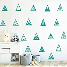 Set of 48pcs Kids Room Decor Sticker Nordic Style Mountains Shape Teepee Triangles Wall Sticker Kids Bedroom Decoration Adesivo Decal YYU-11 (Teal)
