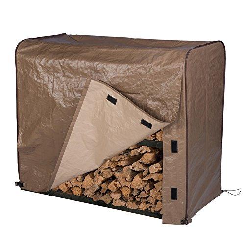 Cover Rack 4' Log (Abba Patio Firewood Log Rack Cover Waterproof Brown, 4-Feet)