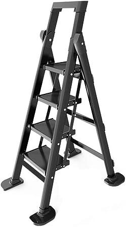 XSJZ Escalera de Extensión Pequeña, Aleación de Aluminio Negro Escalera Plegable Gruesa Ingeniería Interior Escaleras de Escalada Escalera de Espiga Multifunción Escalera Plegable: Amazon.es: Hogar