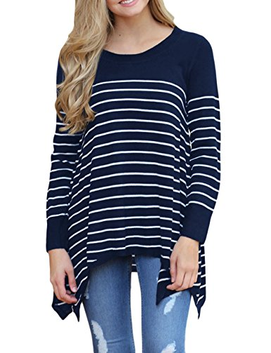 Stripe Pullover Sweater (CICIDES Women Casual Crew Neck Stripes Loose Knit Sweater High low hem Pullover Tops Navy Small)