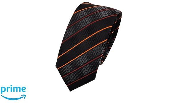 TigerTie - corbata estrecha - naranja negro antracita rayas ...