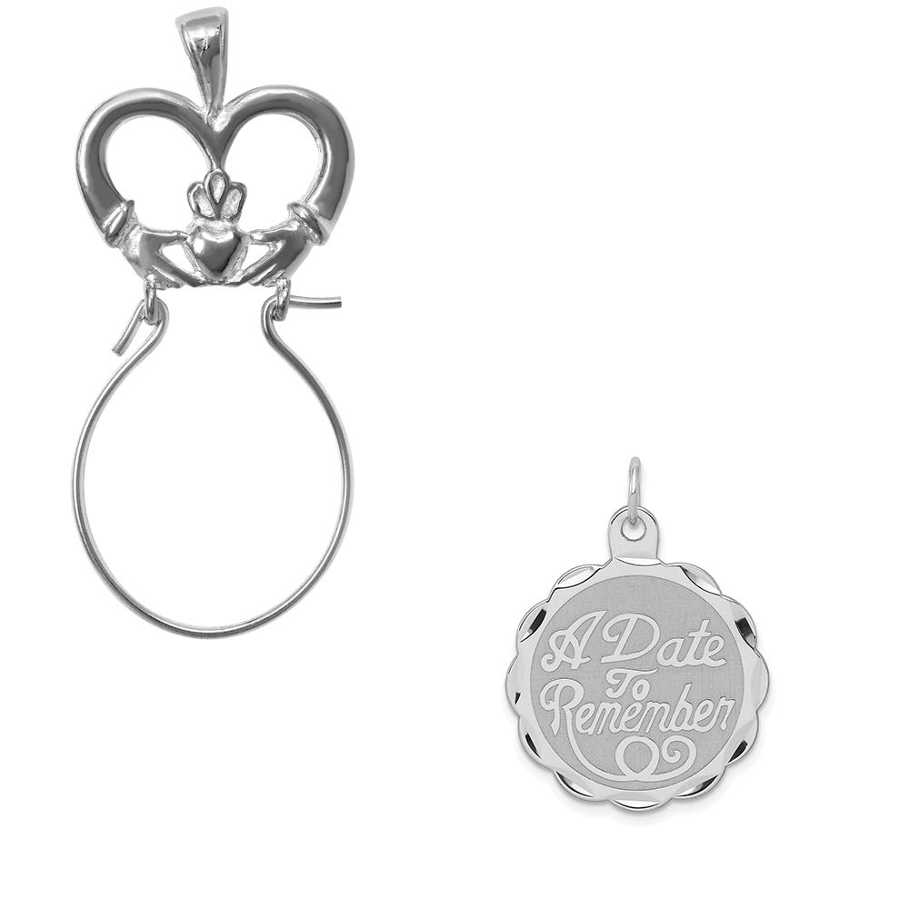 Mireval Sterling Silver Anti-Tarnish Treated a Date to Remember Disc Charm