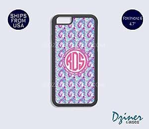 Monogram iPhone 6 Plus Case - Blue Pink Wave Design iPhone Cover