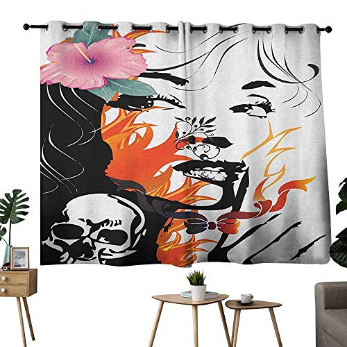 Tattoo Customized Curtains Attractive Women with Pink Flower in her Hair Near a Skull Design Set of Two Panels 63
