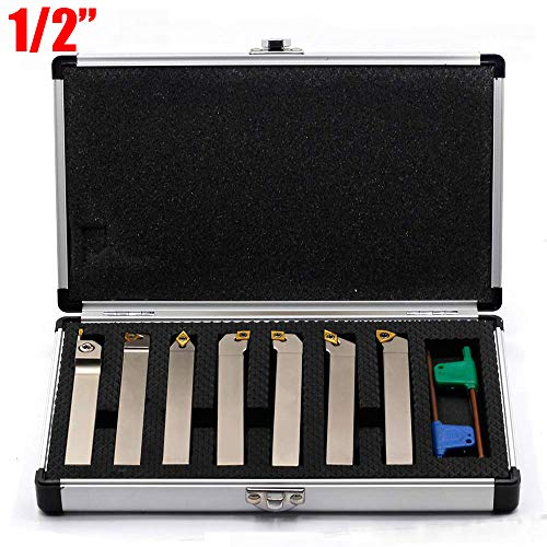 CNC, Metalworking & Manufacturing #2387-2004 Tool Bits 7 Pieces/Set 1/2 Indexable Carbide Turning Tool Set in Fitted Box