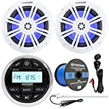 Kicker Marine Boat Yacht Gauge Style AM/FM Stereo Receiver Bundle Combo with 2X 6.5 150W Coaxial Blue LED Audio Speakers + Auxiliary Interface Mount + Radio Antenna + Speaker Wire -  Enrock Marine
