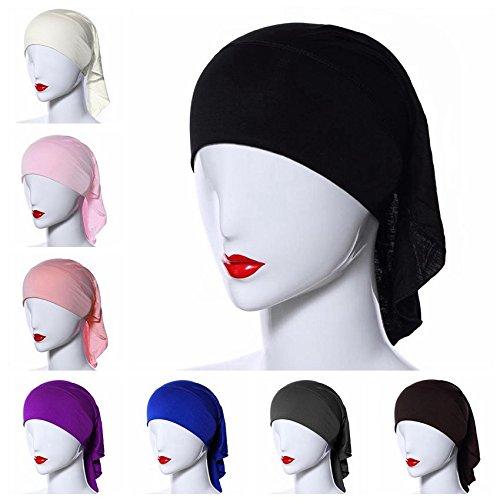 Ksweet 4pcs Women Hijab Underscarf Ninja Summer Tube Cap Head Cover Scarf
