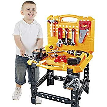 d6b5402c9 120 Pieces Toy Power Workbench, Kids Power Tool Bench Construction Set with  Tools and Electric Drill, Toddlers Toy Shop Tools for Boys