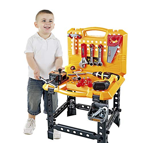 120 Pieces Toy Power Workbench, Kids Power Tool Bench Construction Set with Tools and Electric Drill, Toddlers Toy Shop Tools for Boys (Little Tikes Workbench)