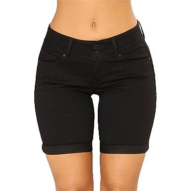 ca108fbf4216 Kairuun Damen Jeans Shorts Sommer Hot Pants Kurze Hose Gerade Kräuselung  Hohe Taille War Dünn Baumwolle