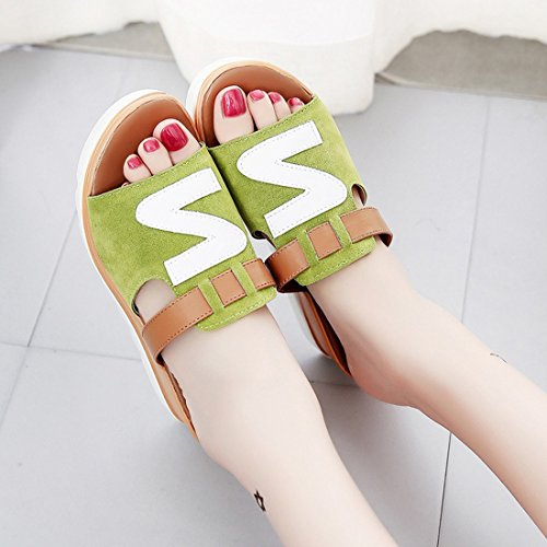 KHSKX-The Slope With High-Heeled Sandals _ Fish Mouth Summer Scrub Bottom Slope With Thick Sponge Lazy High-Heeled Sandals Female Thirty-nine KptlFltgc