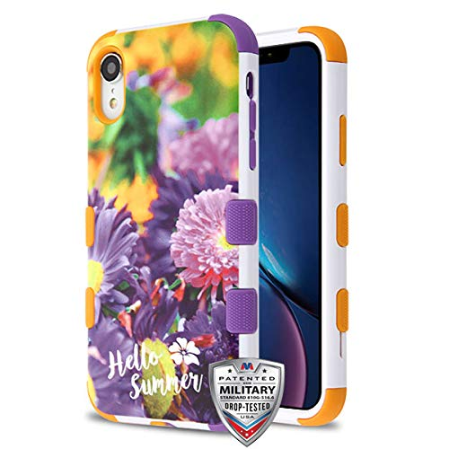 Case+Tempered_Glass+Stylus, TUFF Hybrid Protector Cover [Military-Grade Certified] Fits Apple iPhone XR/iPhone 9 Chrysanthemum Field/Orange & Purple