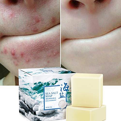Natürliche Gesicht Meersalz Seife mit Ziegenmilch, Tiefenreinigung, Entfernen von Akne, Mitessern, Natürliche Behandlung für die Haut und Gesicht, Für Alle Hauttypen