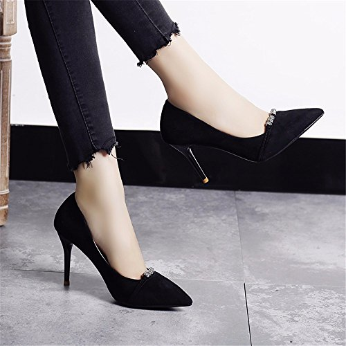 HXVU56546 La Caída De La Punta Es Fina Y Brillante Con Solo Zapatos Zapatos De Mujer Zapatos De Tacón Alto Temperamento Atractivo Y Elegante Y Versátil. Black