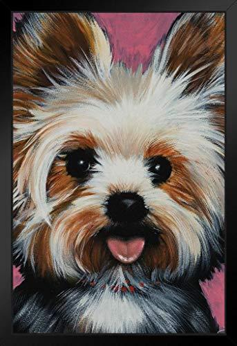 New Yorkie Dog Painting by Stephen Fishwick Art Framed Poster 14x20 inch (Framed Dog Prints)
