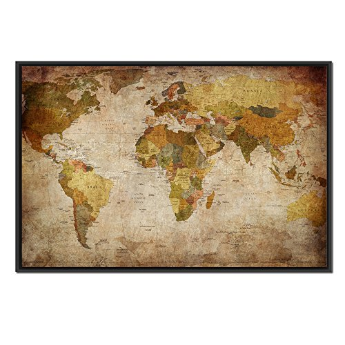 Kreative Arts - Large Size Vintage World Map Giclee Canvas Prints Artwork Pictures Modern Stretched and Framed Paintings on Canvas Wall Art for Living Room Bedroom Home Decor (Black Floater Frame) - Floater Frame