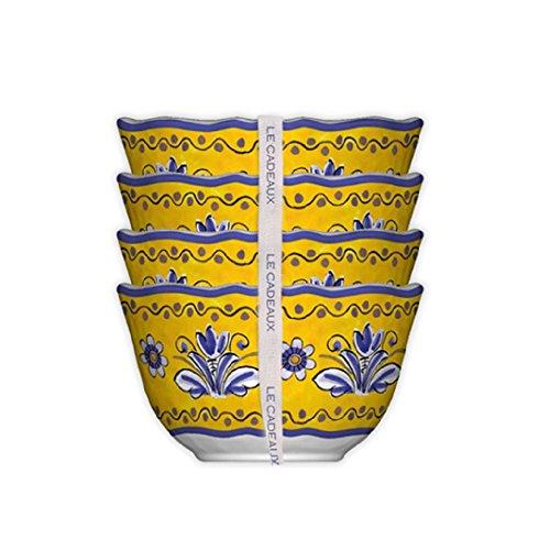 Le Cadeaux Benidorm Desert Bowl (Set of 4), Multicolor - Italian Pottery
