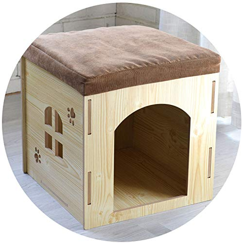 SHEEP YANG Pet Change Shoes Stool Removable and Washable Four Seasons pet House Wooden pet nest,Rose red + Door,XL