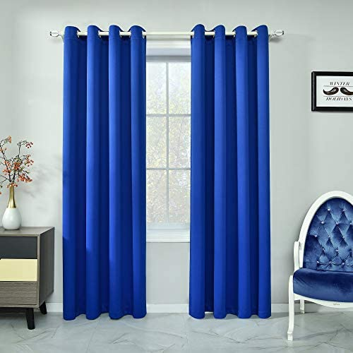 Royal Blue Curtains 84 Inch Length Light Blocking Thermal Insulated Windows Drapes Darkening Room Curtains