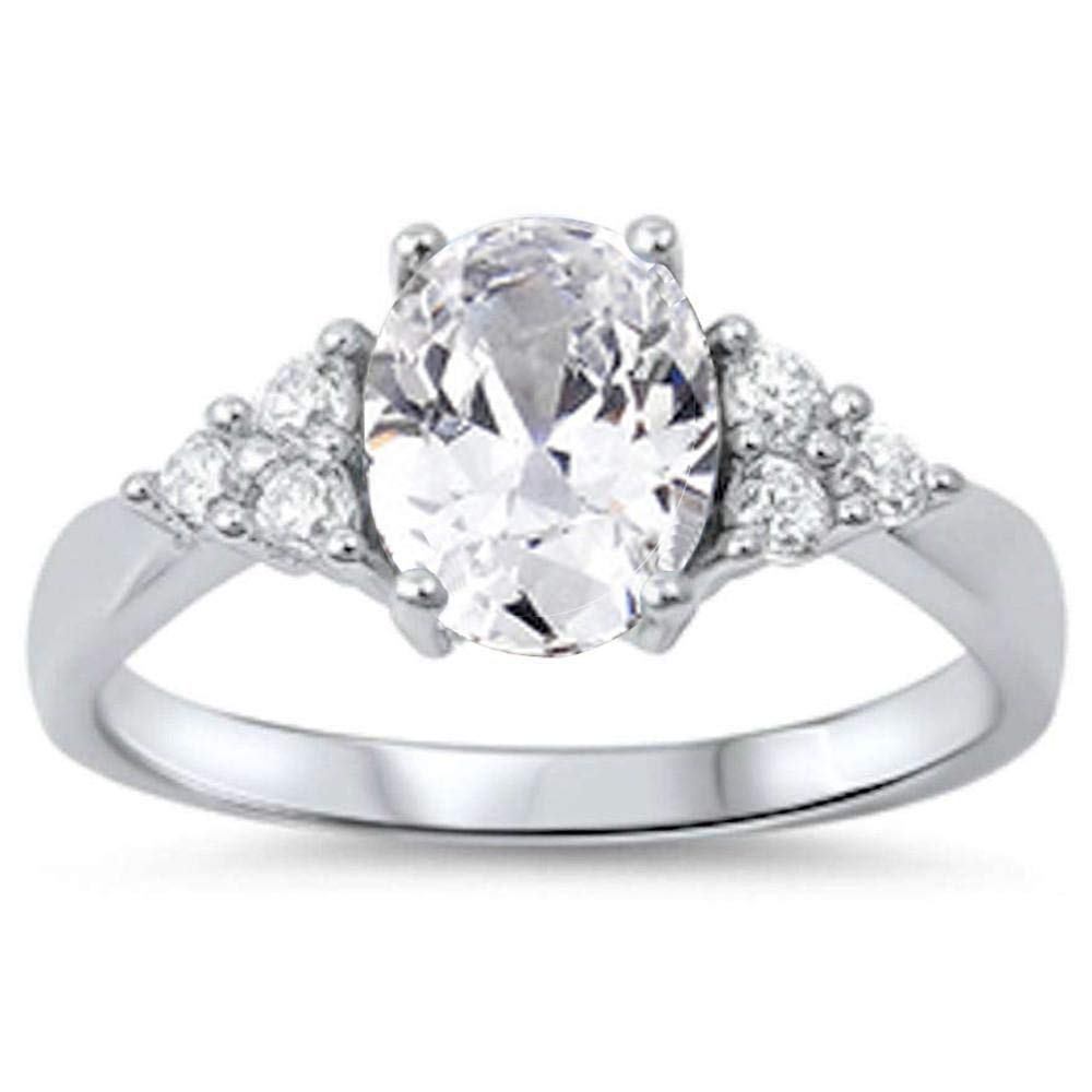 CloseoutWarehouse Oval Clear Cubic Zirconia Classic Bridal Ring Sterling Silver