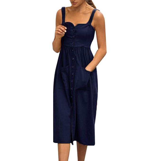 7e1d5425b89 Fashion Dress for Women Solid Sleeveless Sexy Cotton Linen Dress at ...