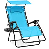 Best Choice Products Oversized Zero Gravity Reclining Lounge Patio Chairs w/Folding Canopy Shade and Cup Holder (Aqua)