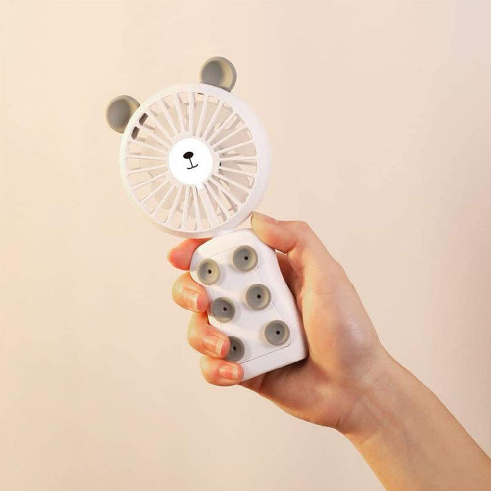 RONSHIN Portable Cellphone Mounted USB Rechargeable Fan Handheld Suction Cup Mobile Phone Bracket Fan with LED Light Blue Bear