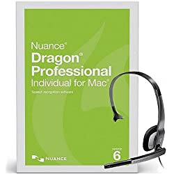 Nuance Dragon Professional Individual for Mac Version 6 Speech Recognition Software with USB PC Noise Canceling Headsets